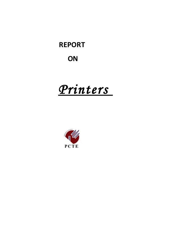 Report on printers
