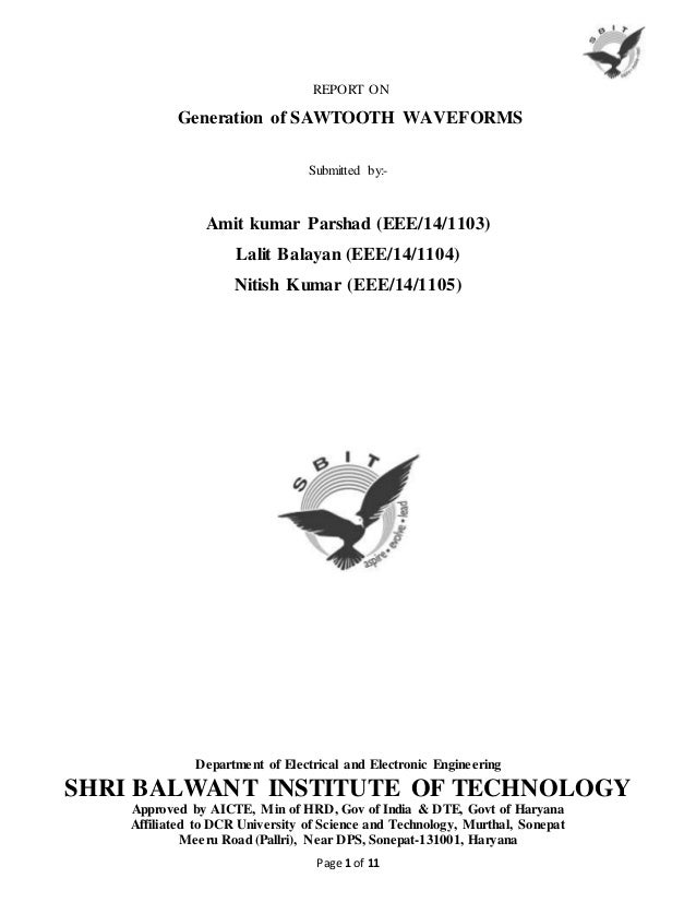 Report on sawtooth wave generator