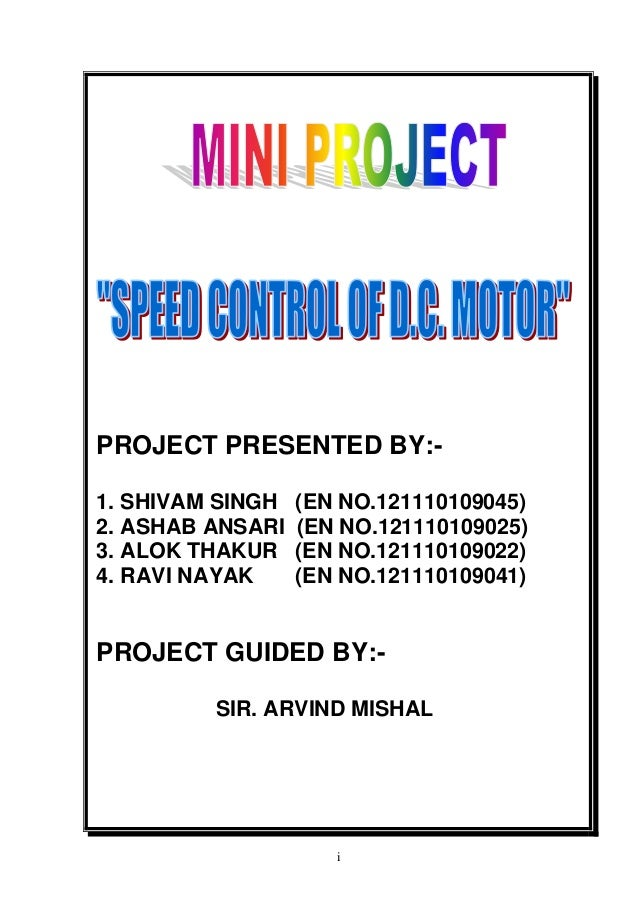 Report on speed control of d c  motor using pwm method