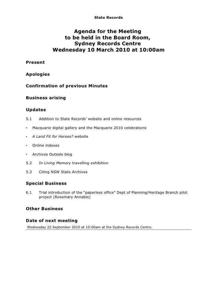 State Records                         Agenda for the Meeting                    to be held in the Board Room,             ...