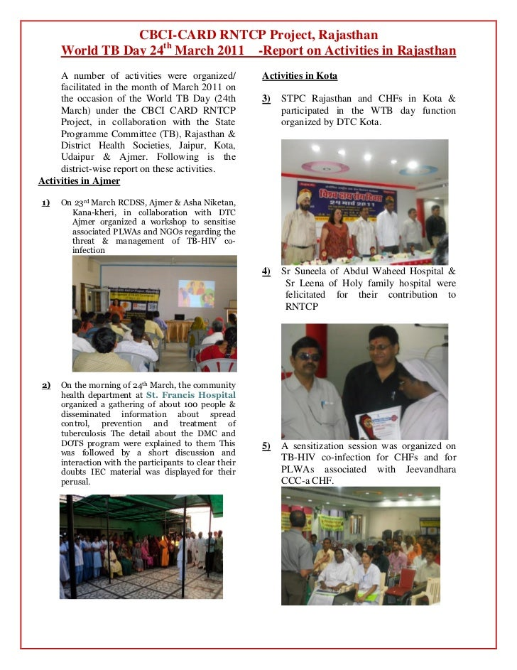CBCI-CARD RNTCP Project, Rajasthan     World TB Day 24th March 2011 -Report on Activities in Rajasthan     A number of act...