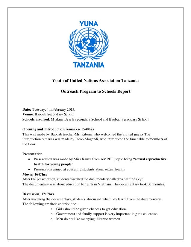 Youth of United Nations Association Tanzania                        Outreach Program to Schools ReportDate: Tuesday, 4th F...