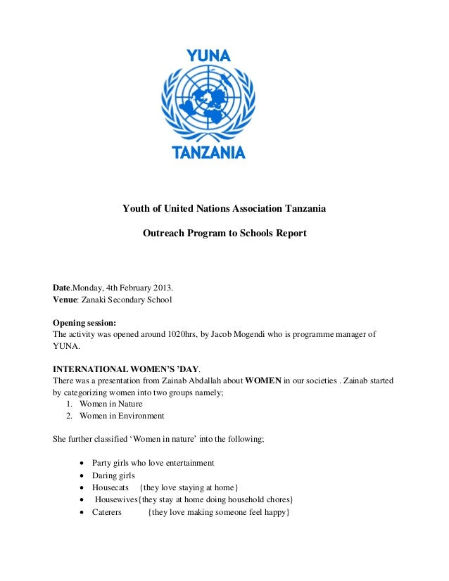 Youth of United Nations Association Tanzania                         Outreach Program to Schools ReportDate.Monday, 4th Fe...