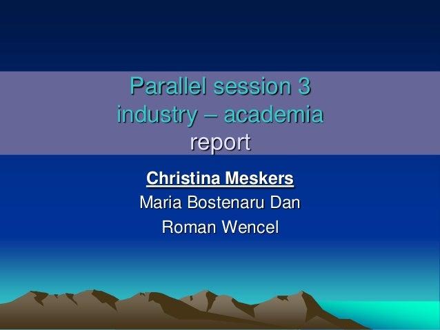 Parallel session 3 industry – academia report Christina Meskers Maria Bostenaru Dan Roman Wencel