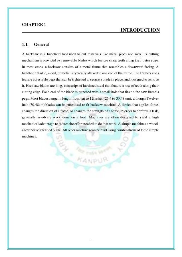 literature review of pneumatic hacksaw machine
