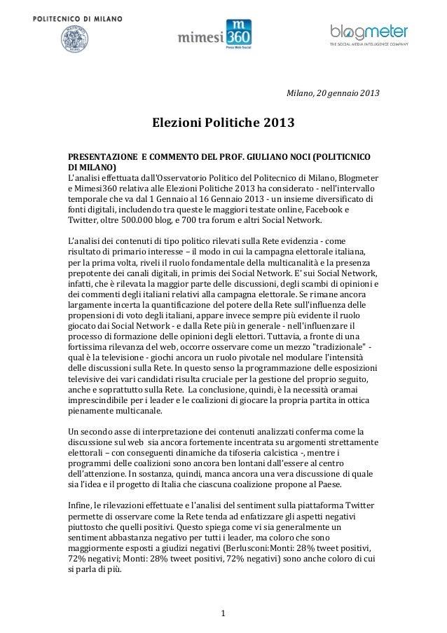 Milano, 20 gennaio 2013                       Elezioni Politiche 2013PRESENTAZIONE E COMMENTO DEL PROF. GIULIANO NOCI (POL...