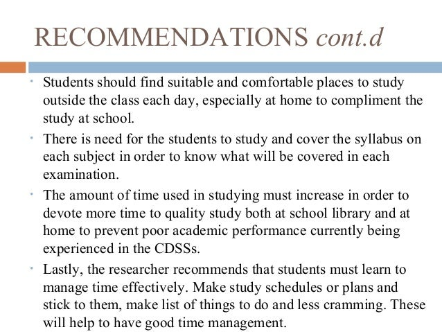 Reseach about students study habits