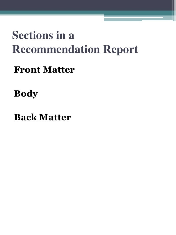 ... 2. Sections In A Recommendation Report Front Matter ...