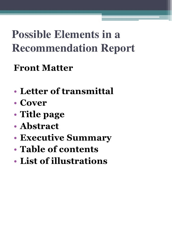 Recommendation Report Front Matter