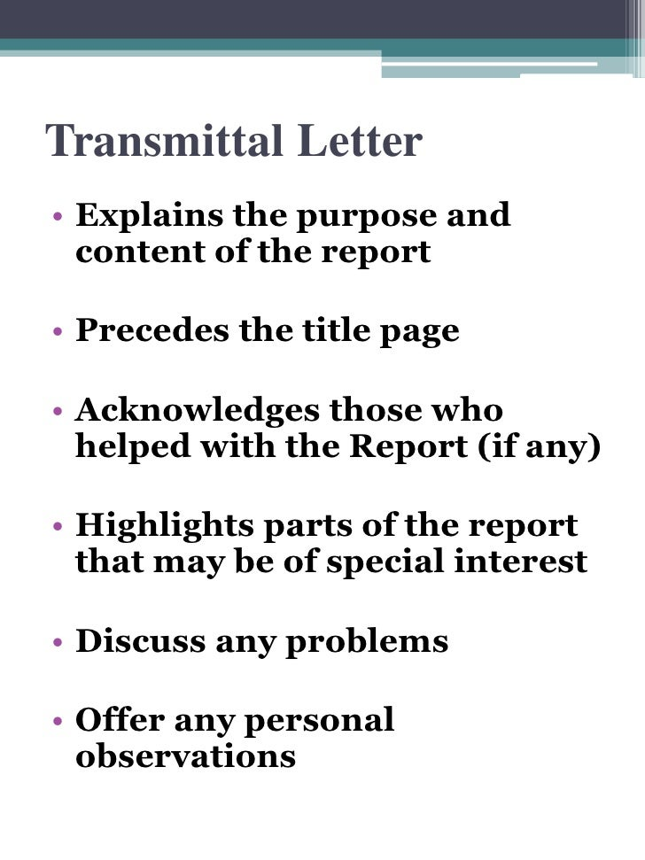 Recommendation Report Front Matter – Letter of Transmittal Example Proposal