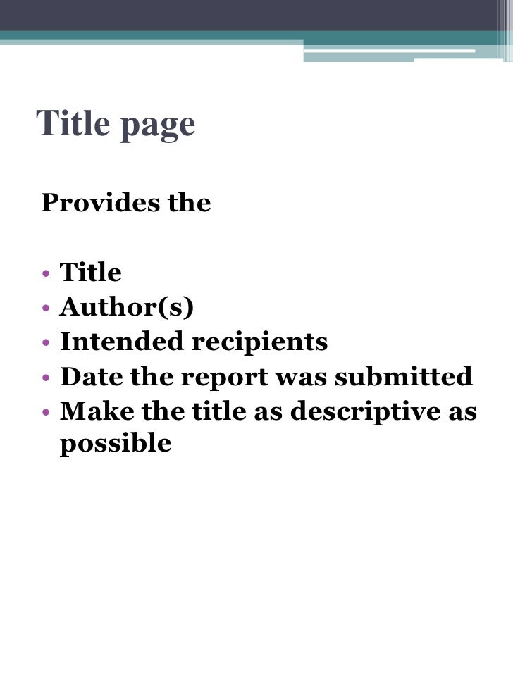 what is title page in report writing