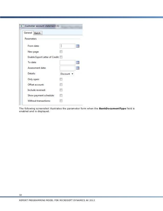 Report programming model for microsoft dynamics ax 2012
