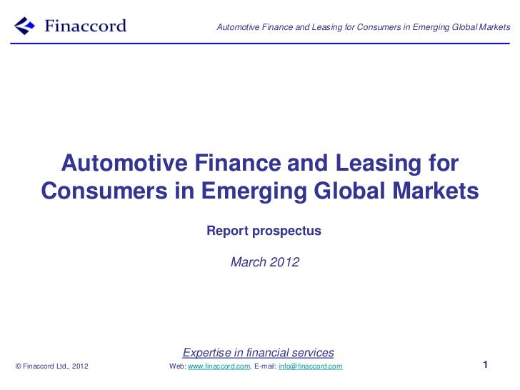 Automotive Finance and Leasing for Consumers in Emerging Global Markets        Automotive Finance and Leasing for       Co...