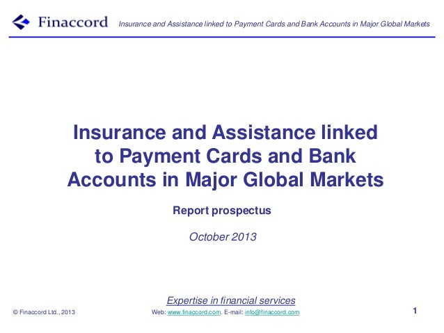Insurance and Assistance linked to Payment Cards and Bank Accounts in Major Global Markets  Insurance and Assistance linke...