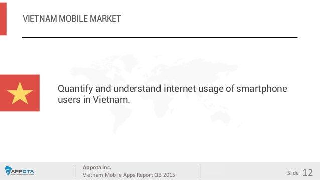 Appota Inc. Vietnam Mobile Apps Report Q3 2015 Source: Slide VIETNAM MOBILE MARKET 12 Quantify and understand internet usa...