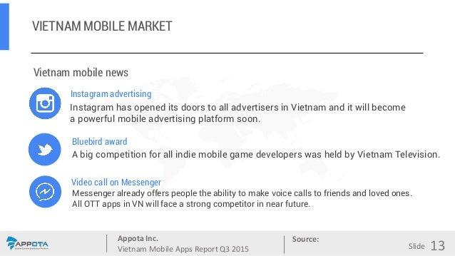 Appota Inc. Vietnam Mobile Apps Report Q3 2015 Source: Slide VIETNAM MOBILE MARKET 13 Vietnam mobile news Instagram advert...