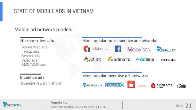 Appota Inc. Vietnam Mobile Apps Report Q3 2015 Source: Slide STATE OF MOBILE ADS IN VIETNAM Adsota 21 Mobile ad network mo...