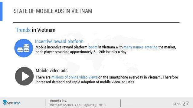 Appota Inc. Vietnam Mobile Apps Report Q3 2015 Source: Slide Mobile video ads Trends in Vietnam Incentive reward platform ...