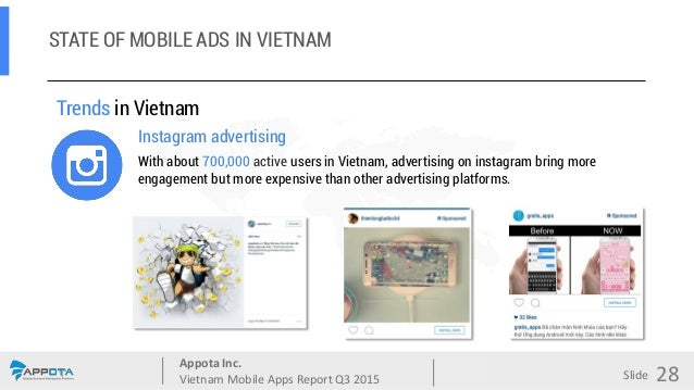 Appota Inc. Vietnam Mobile Apps Report Q3 2015 Source: Slide Trends in Vietnam Instagram advertising With about 700,000 ac...