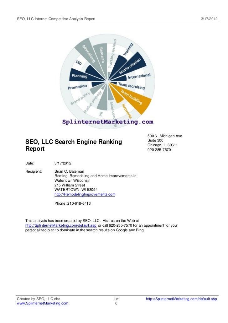 SEO, LLC Internet Competitive Analysis Report                                                                3/17/2012    ...