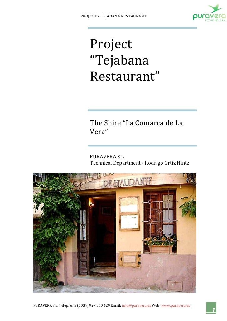 Investment opportunity - Report Tejabana Restaurant