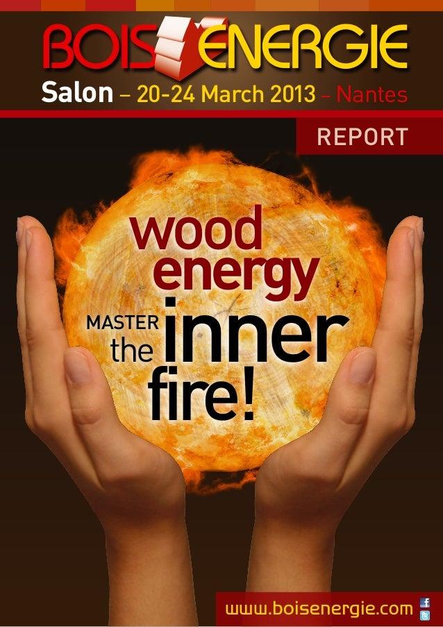 Salon – 20-24 March 2013 – Nantes REPORT  wood energy  inner  MASTER  the  fire!  www.boisenergie.com