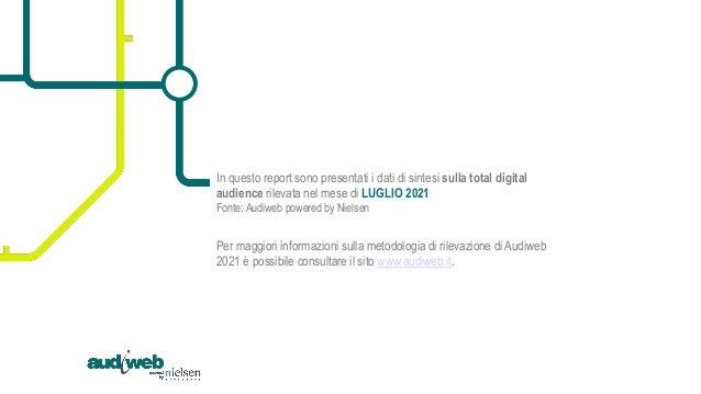 Report scenario online - dati Total Digital Audience - Luglio 2021 Slide 2