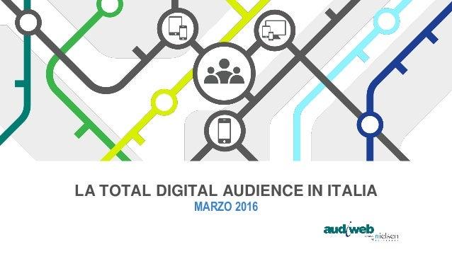 LA TOTAL DIGITAL AUDIENCE IN ITALIA MARZO 2016