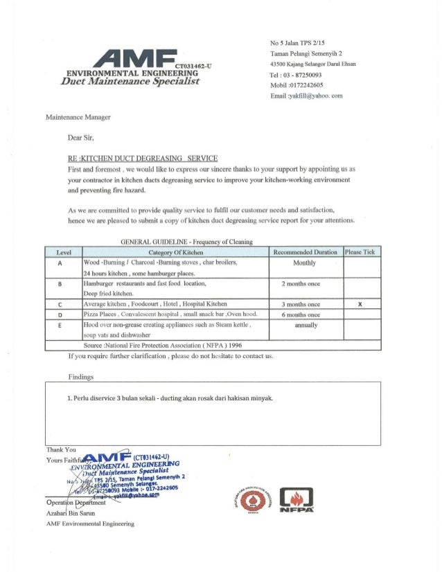 DUCT SYSTEM MAINTENANCE REPORT CERTIFICATE