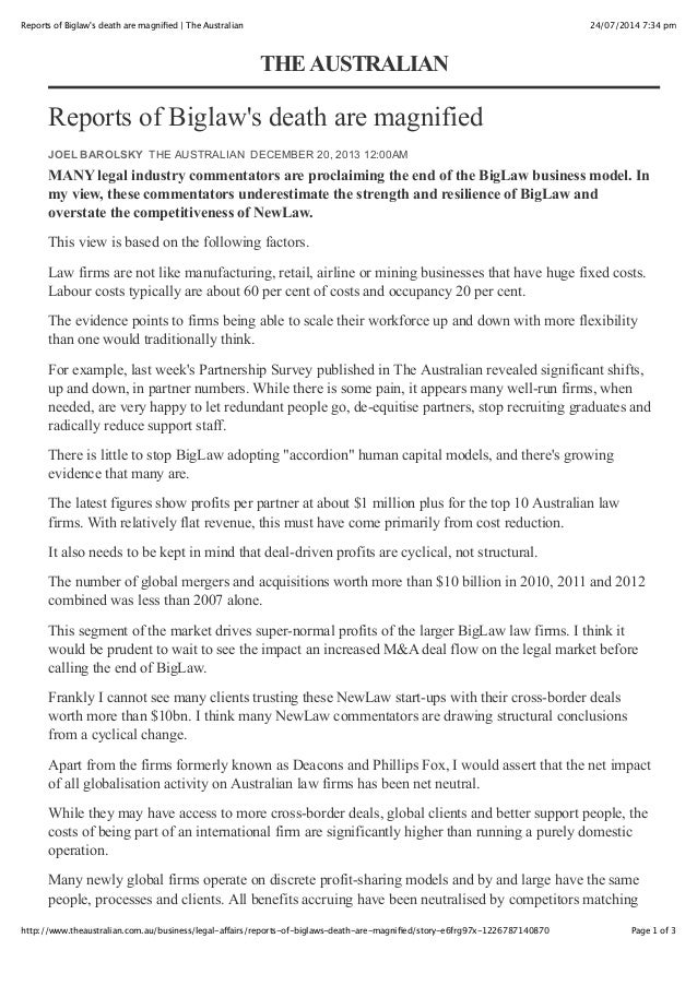 24/07/2014 7:34 pmReports of Biglaw's death are magnified | The Australian Page 1 of 3http://www.theaustralian.com.au/busin...