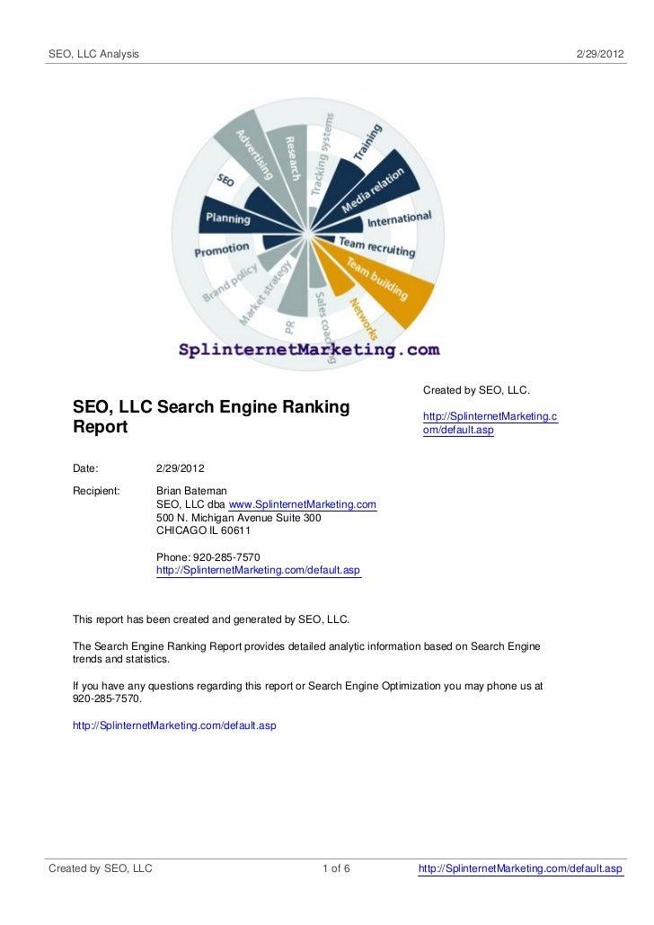 SEO, LLC Analysis                                                                                           2/29/2012     ...