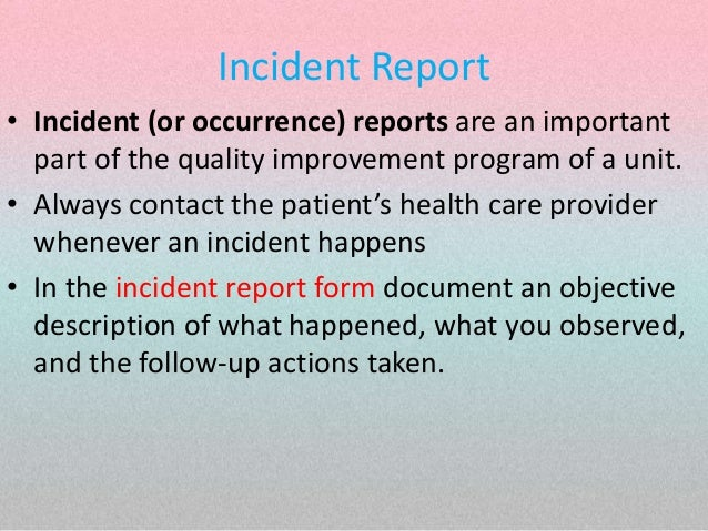 health care incident report template