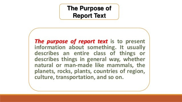 Purpose report text