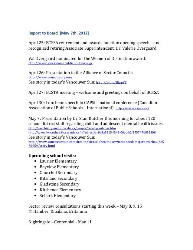 Report to Board [May 7th, 2012]April 25: BCSSA retirement and awards function opening speech – andrecognized retiring Asso...