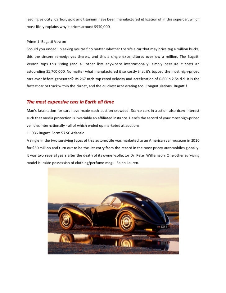 Report top expensive cars 2