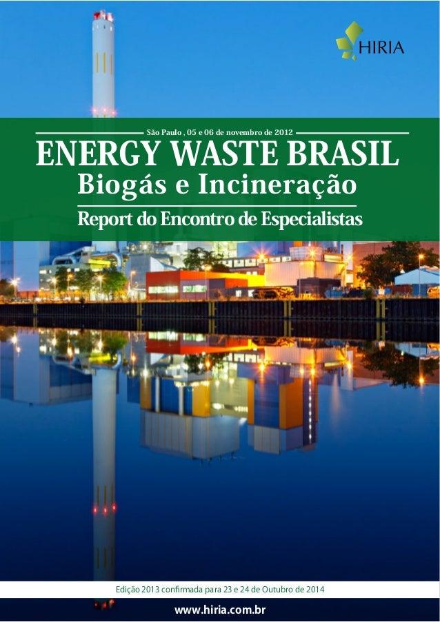 ENERGY WASTE BRASIL Biogás e Incineração Report do Encontro de Especialistas www.hiria.com.br São Paulo , 05 e 06 de novem...