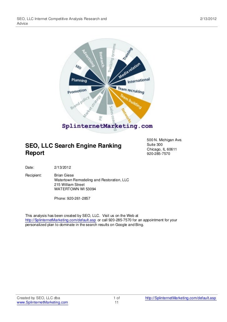 SEO, LLC Internet Competitive Analysis Research and                                                          2/13/2012Advi...