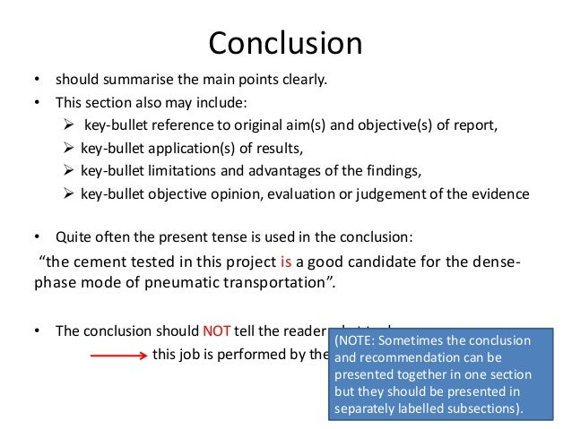 Write conclusion report example
