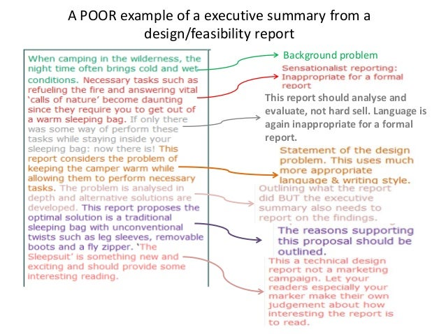 ... Example Of A Executive Summary From A Design/feasibility Report; 6.  Executive Summary Of A Report Example