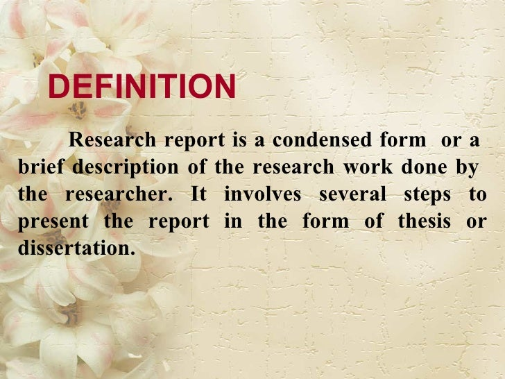research report slideshare