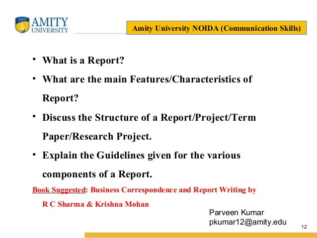 Main features of a report