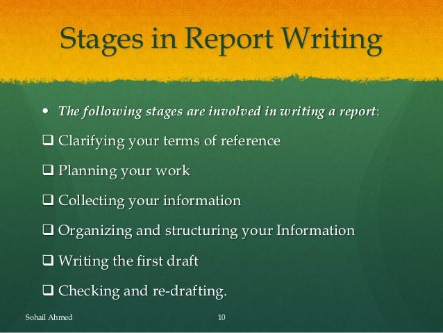Stages of report writing