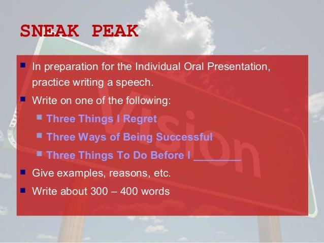inidividual oral presentation