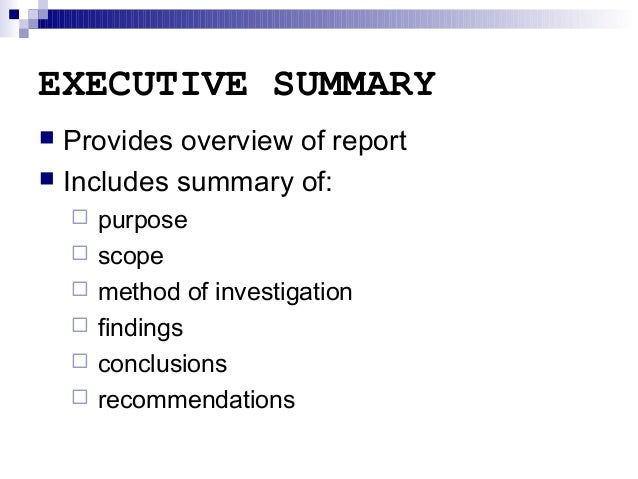 Great EXECUTIVE SUMMARY Provides Overview Of Report ...