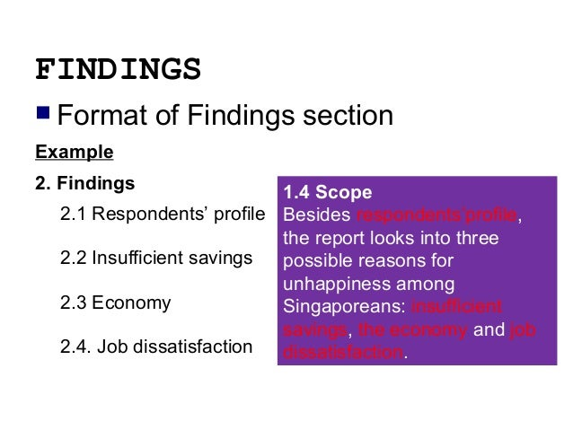findings of report writing