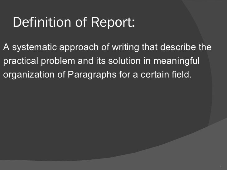 written reports definition A technical report is a document written by a researcher detailing the results of a project and submitted to the sponsor of that project many of.