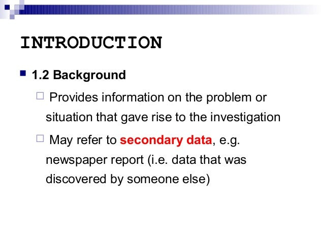 introduction of field report