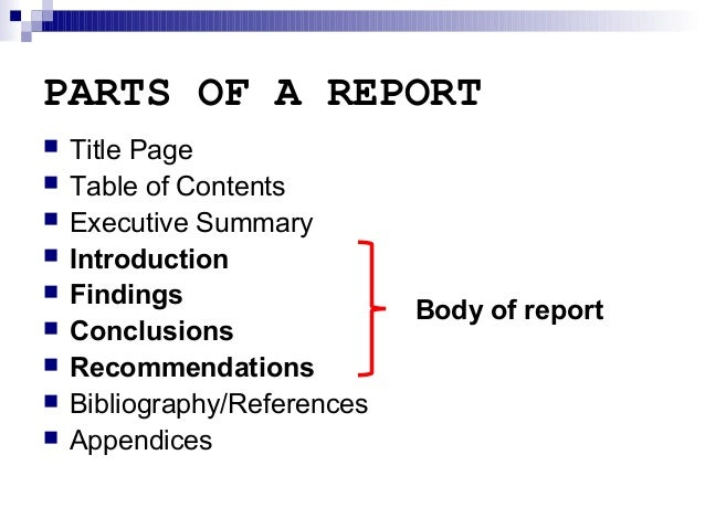 parts of written report