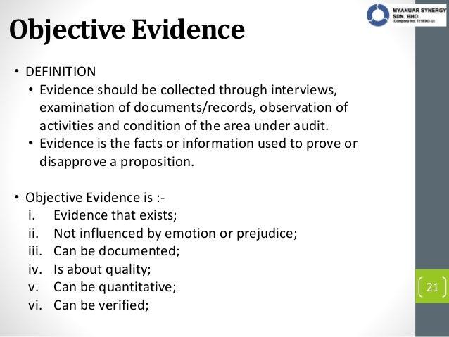 operation under audit 21 objective evidence