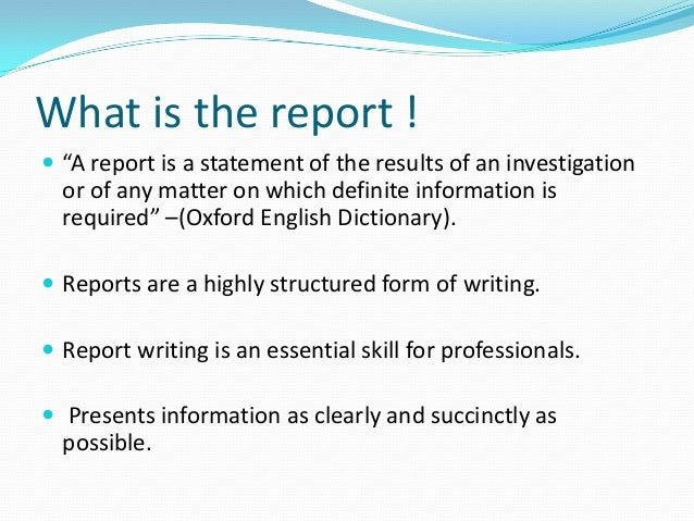 How to write a formal Report – Layout of a Formal Report